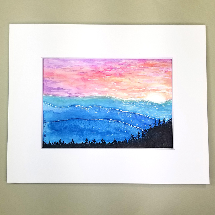Midnight Geometric Mountains Matted 5x7 original Watercolor Painting